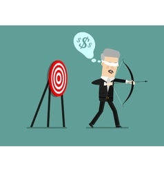 Blindfold businessman holding bow and arrow look vector