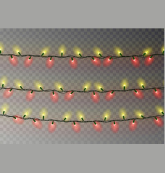 Christmas yellow red lights string transparent ef vector