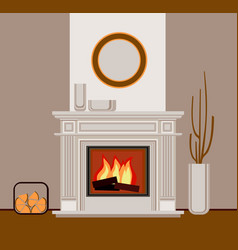 Classic fireplace with pilasters vector