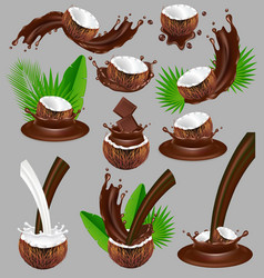 coconut in chocolate splash realistic vector image