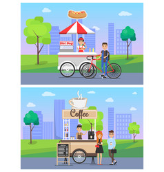 coffee and hot dog shops set vector image