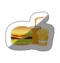 Color hamburger soda and fries french food vector