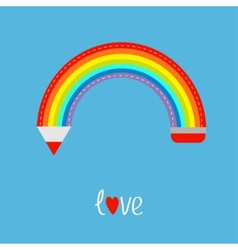 Colored pencil in shape of rainbow in the sky Love vector