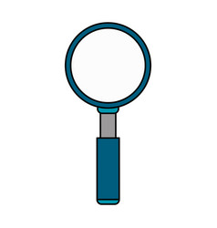 Colorful caricature image magnifying glass blue vector