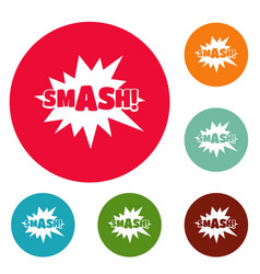 Comic boom smash icons circle set vector