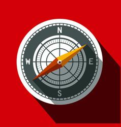 compass symbol long shadow flat design circle icon vector image