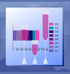 consumption of drinks chart and full wineglasses vector image