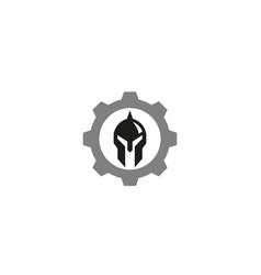 creative helmet tech warrior logo design vector image