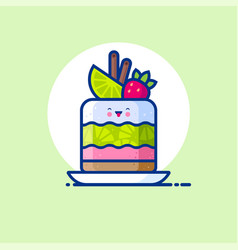 cupcake lime strawberry cute kawaii vector image