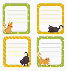 Cute cards or stickers with cat cute cards or vector