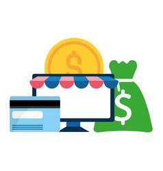 desktop computer with money icon vector image