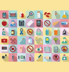 Diabetes icons set flat style vector