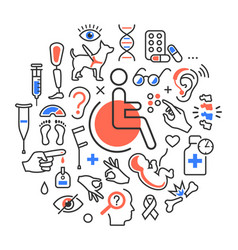 Disability concept medical icons signs isolated vector