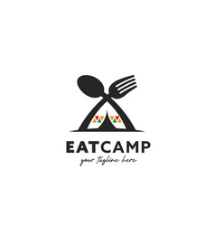 Eat camp camping foodie logo symbol with unique vector