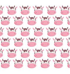 farm animal cow faces decoration textile vector image