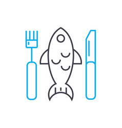 Fish plate linear icon concept fish plate line vector