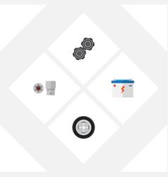 Flat service set of accumulator turnscrew tire vector