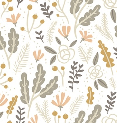 Flowers leaves and berries pastel seamless pattern vector