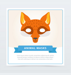 Fox role-play mask for children s theater or vector