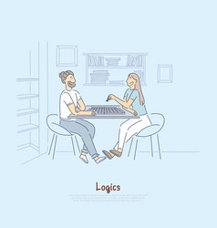 Friends playing chess married couple enjoy board vector