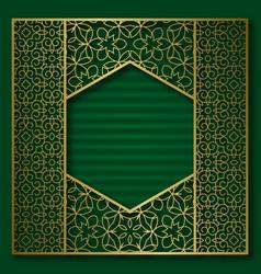 golden cover background patterned hexagonal frame vector image