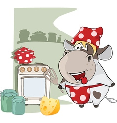 Gourmet Chef Cow Cartoon Characte vector image