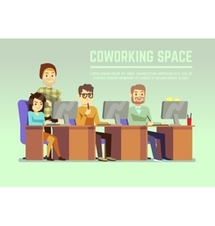 Graphic design team working in agency office with vector image vector image