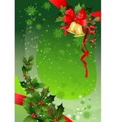 Green Christmas background with holly vector