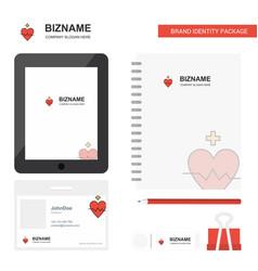 heart rate business logo tab app diary pvc vector image