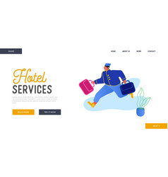 hotel hospitality service website landing page vector image