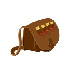 Hunter leather bag cartoon icon vector image