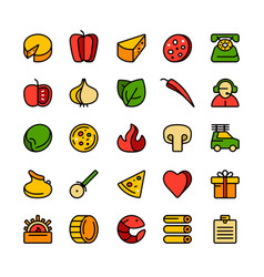 icon set for pizzeria vector image