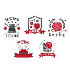 Icons sewing knitting needlework service vector