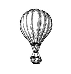 ink sketch hot air balloon vector image