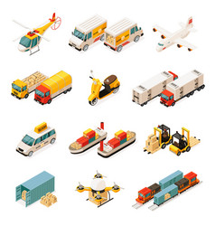 Isometric transportation elements set vector