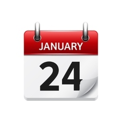 January 24 flat daily calendar icon Date vector image