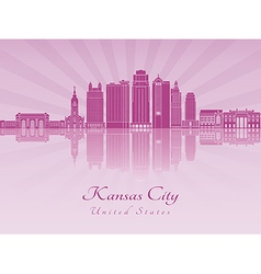 Kansas City V2 skyline in purple radiant orchid vector image