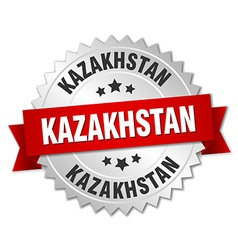 Kazakhstan round silver badge with red ribbon vector
