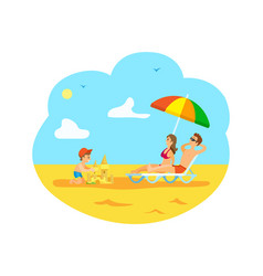 Kid building sand castle and parents relaxing vector