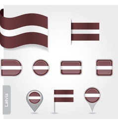 Latvian flag icon vector image