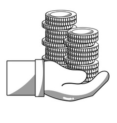 Line coins cash currency in the hand vector