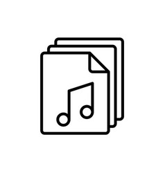 line music audio file icon on white background vector image
