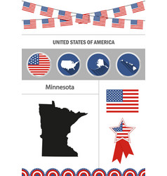 Map of minnesota set of flat design icons vector