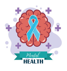 Mental health day human brain ribbon awareness vector