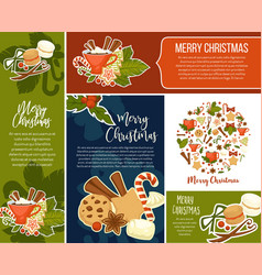 merry christmas greeting banners with winter vector image