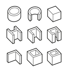 Metal Profiles Icons Set Steel Products vector