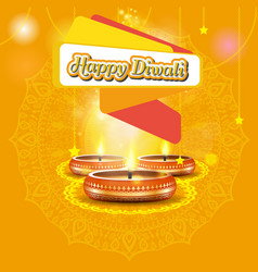 modern elegant diwali design with candle with vector image