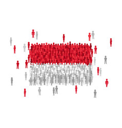 monaco state flag formed by crowd of cartoon vector image