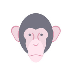 Monkey face isolated chimpanzee head primacy of vector