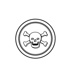 Monochrome contour in circle with skull and bones vector